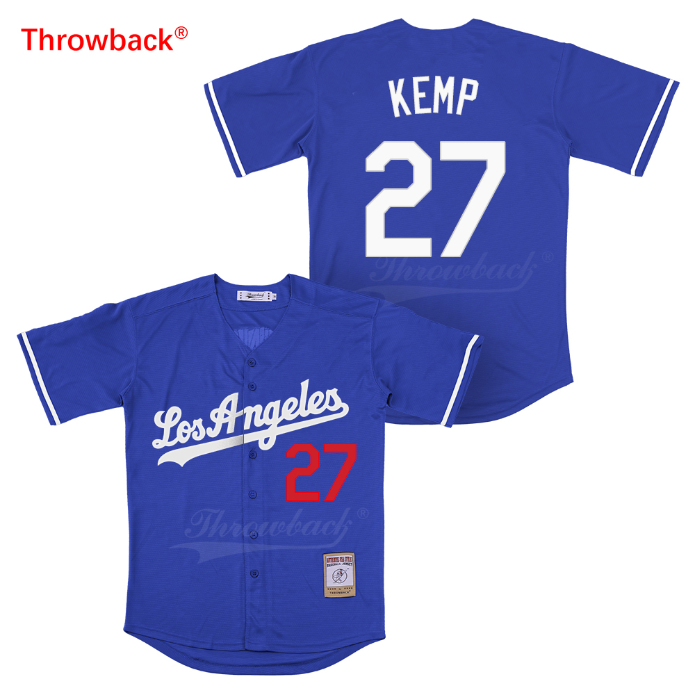 Throwback Los Angeles Custom 27 Matt Kemp 10 Justin Turner 66 Yasiel Puig  Baseball Jerseys Men s Women s Youth Los Angele Jersey-in Baseball Jerseys  from ... e074d563c