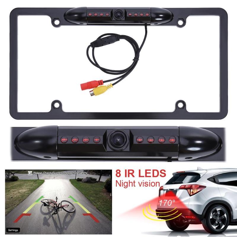 Car Rear View Backup Camera 8 IR Night Vision US License Plate Frame CMOS US