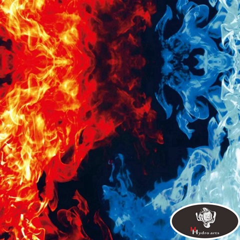 New Arrival RED&BLUE Flaming Fire Design Hydrographic Film Water Transfer Printing Film HFD110 Width 0.5M