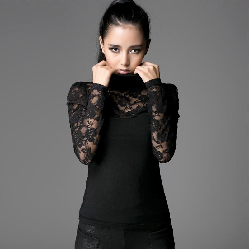 Steampunk Fashion Black Sexy Lace Women T shirt Spring Autumn Gothic High Collar Long Sleeve Bodycon Slim Tops Tee