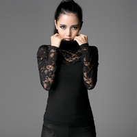 Steampunk Fashion Black Sexy Lace Women T shirt Spring Autumn Gothic High Collar Long Sleeve Bodycon Slim Tops Tee