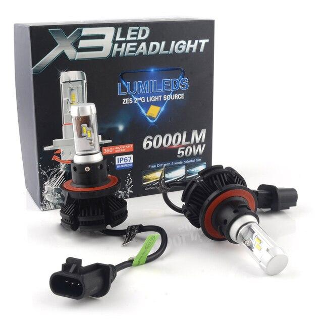 PRELIGHT X3 9008 H13 Hi Lo 50W 6000lm 3000K 6500K 8000K ZES Chips Auto LED Lights 12v Bulb Car Headlight Fog Light