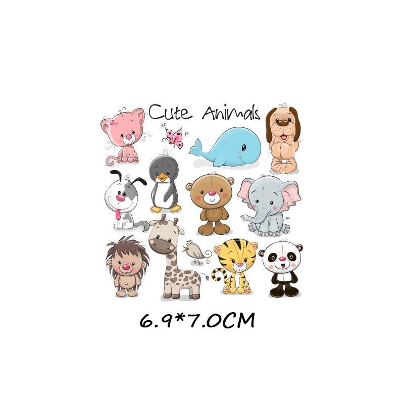 Набор патчей с изображением животных из мультфильмов, милые патчи с изображением единорога, кошки, совы, собаки, цветов для детей, одежда для девочек, футболка, сделай сам, термопресс - Цвет: 1033