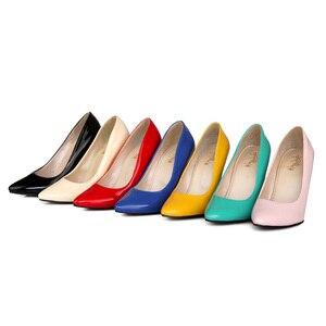 Image 5 - Brand Nieuwe Glamour Blauw Beige Vrouwen Formele Pompen Classic Stiletto Hakken Dame Naakt Schoenen HG5A Plus Grote Kleine Maat 10 12 30 43 48