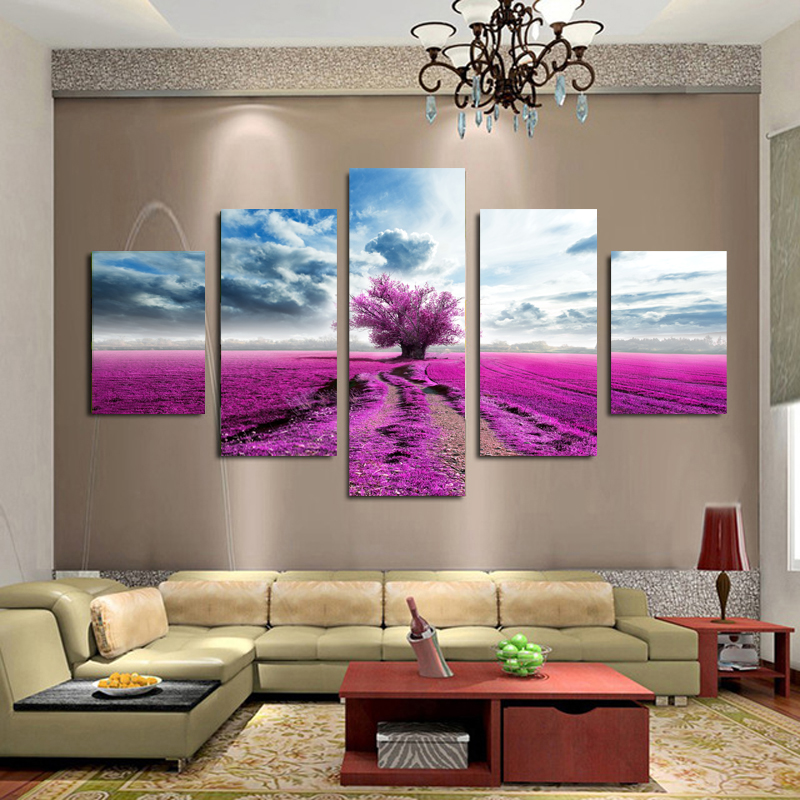 Large Wall Pictures For Living Room: 5 Panel Canvas Wall Art Purple Tree Canvas Painting Large