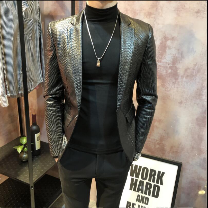 Coréenne Grande En Slim Décontracté Marée Taille De Hommes Vêtements Veste M Nouveaux Noir Costume Pu 4xl Jeunes Serpent À Manteau Motif 2019 Cuir lJuc3FK15T