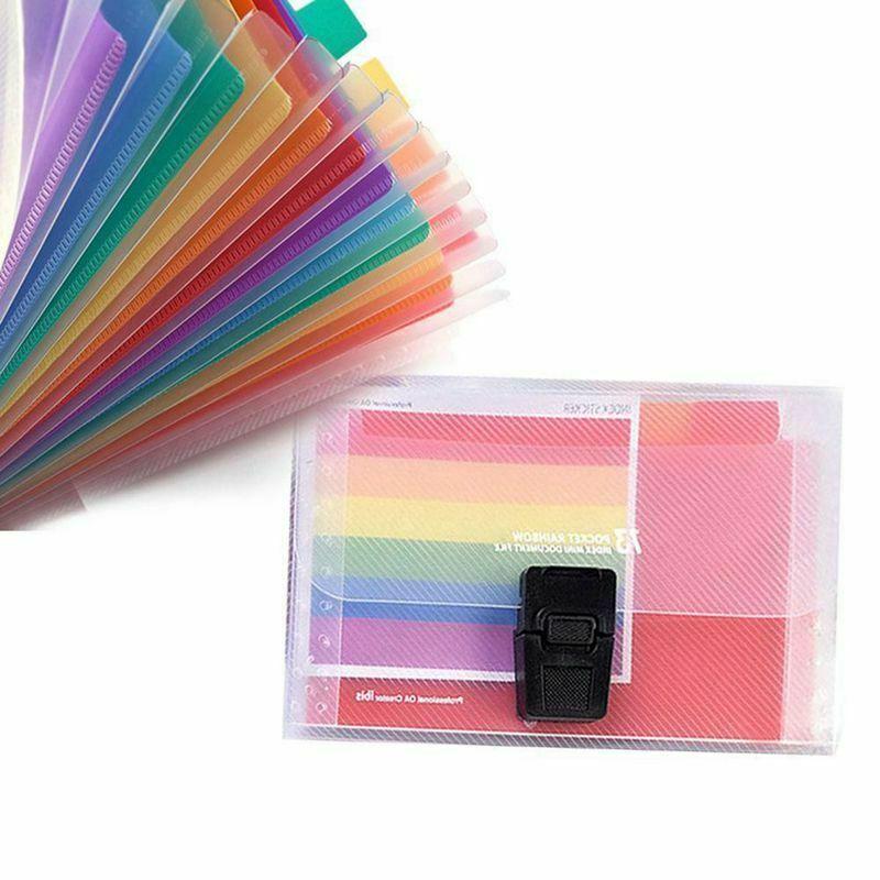 USEFUL 13 Pocket Folder Office Expanding File Colorful A6 File Organizer Document Bag