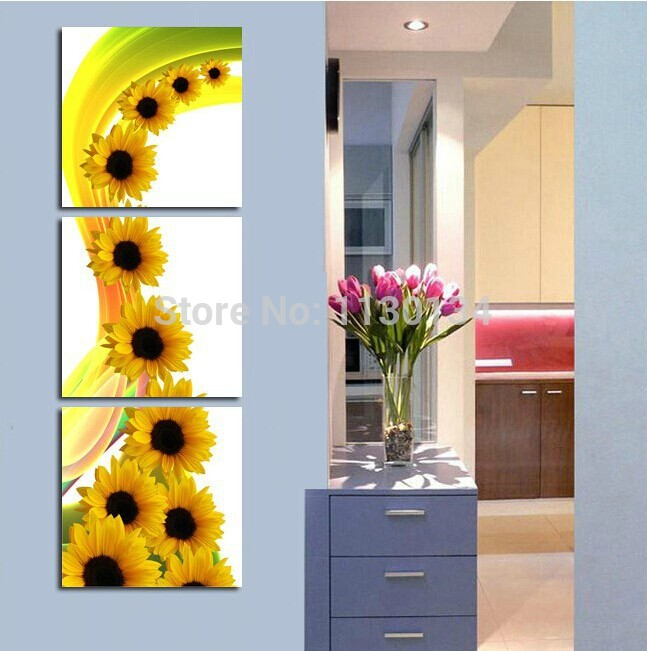 Sunflower diy diamonds painting triptych home decor painting square drill and rhinestone embroidery painting by numbers