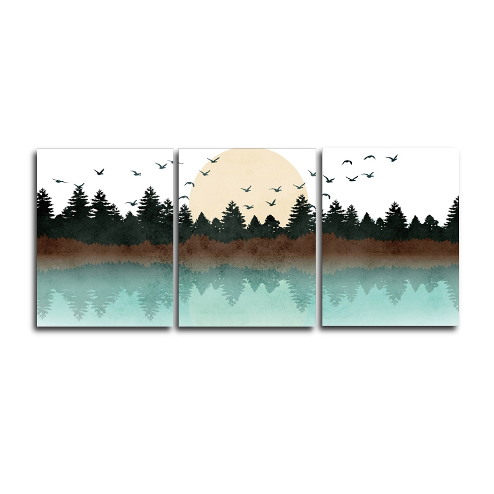 Forest and Birds Nordic Wall Picture Poster Print Canvas Painting Calligraphy Decor for Living Room Bedroom Home Decor Frameless in Painting Calligraphy from Home Garden