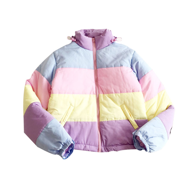 Rainbow Colorful Cotton Padded   Parkas   Casual Women Autumn Winter Detachable Hat Coat Macaron Pastel Panel Puffer Jacket Coats