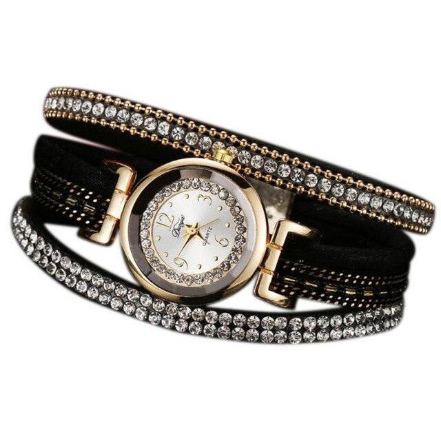 e60c425cf جديد ماركة duoya النساء ووتش سوار ساعة اليد النسائية فتاة ساعة اليد النساء  اللباس هدية الساعات