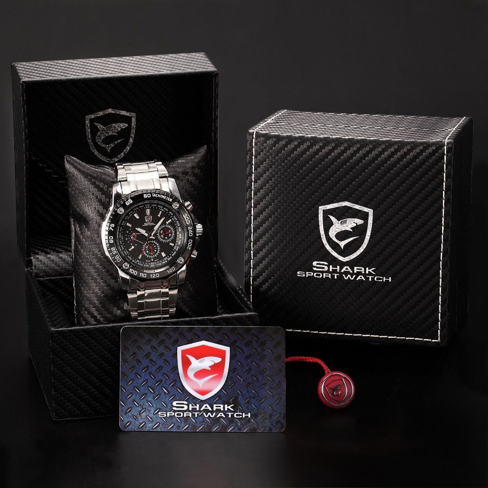 ФОТО Luxury Gift Package SHARK Sport Watch 6 Hands Complete Calendar Auto Date Display Black Silver Men Quartz-watch / SH015+ZC156