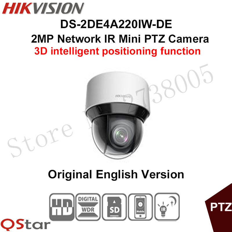 Hikvision 2MP Network IR mini PTZ Camera DS-2DE4A220IW-DE 3D intelligent positioning function 20x optical zoom IP camera 50m IR english version hikvision ptz ip camera ds 2de3304w de 3mp network mini dome camera 4x optical zoom support ezviz remote view