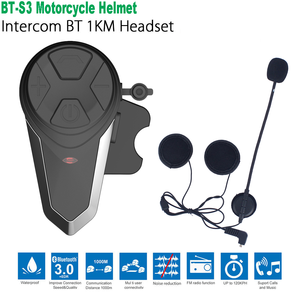 2019 BT-S3 Pro Motorcycle Helmet Intercom Motorbike Wireless Bluetooth Headset Waterproof BT Intercomunicador Interphone With FM
