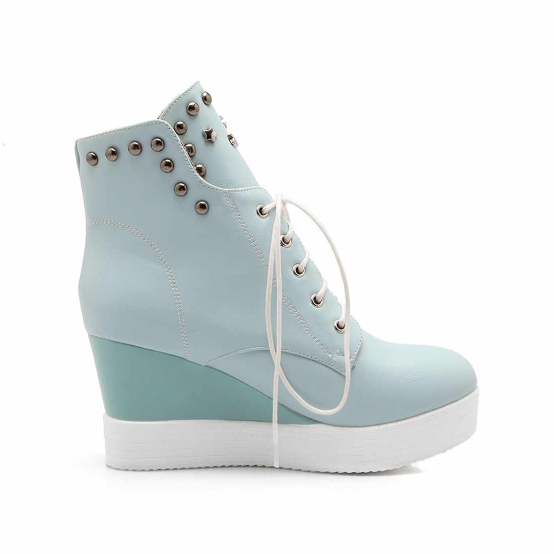 SARAIRIS ขาย plus ขนาด 33-42 lace up wedge รองเท้าส้นสูงรองเท้าข้อเท้ารองเท้าผู้หญิงรองเท้าแพลตฟอร์มเพิ่มขนสัตว์ฤดูหนาวรองเท้าผู้หญิงรองเท้า