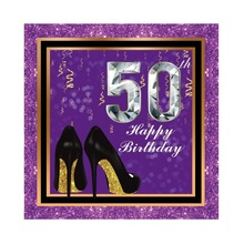 Laeacco 50th Happy Birthday High Heels Ribbon Golden Frame Portrait Scene Photo Background Photography Backdrop For Studio