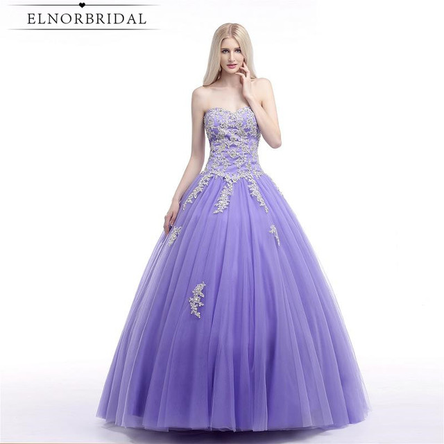 5fb6ed6b4f0ca Lavender Ball Gown Prom Dress 2018 Vestido De Festa Sweetheart Corset Back  Plus Size Robe De Bal Formal Evening Dresses