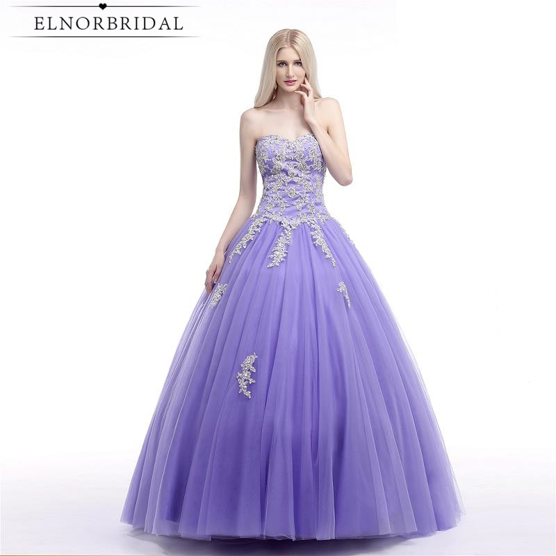 Lavender Ball Gown   Prom     Dress   2018 Vestido De Festa Sweetheart Corset Back Plus Size Robe De Bal Formal Evening   Dresses