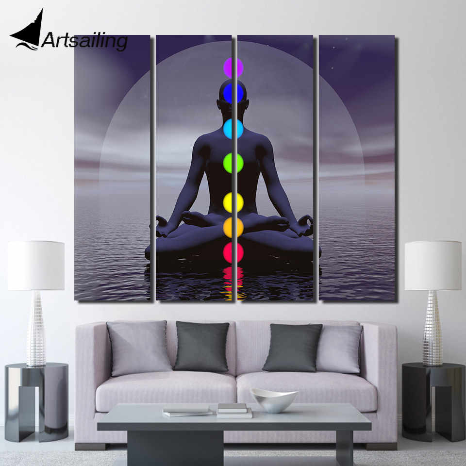 HD print 4 piece canvas art Zen Chakra meditation Buddha painting posters and prints wall pictures for living room /up-1410C
