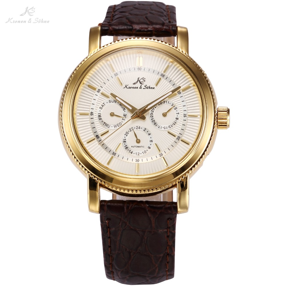 KS Brand White Gold Auto Date Day 24 Hour Display Black Leather Male Clock Wrist Automatic Self Wind Men Mechanical Watch /KS246 original binger mans automatic mechanical wrist watch date display watch self wind steel with gold wheel watches new luxury