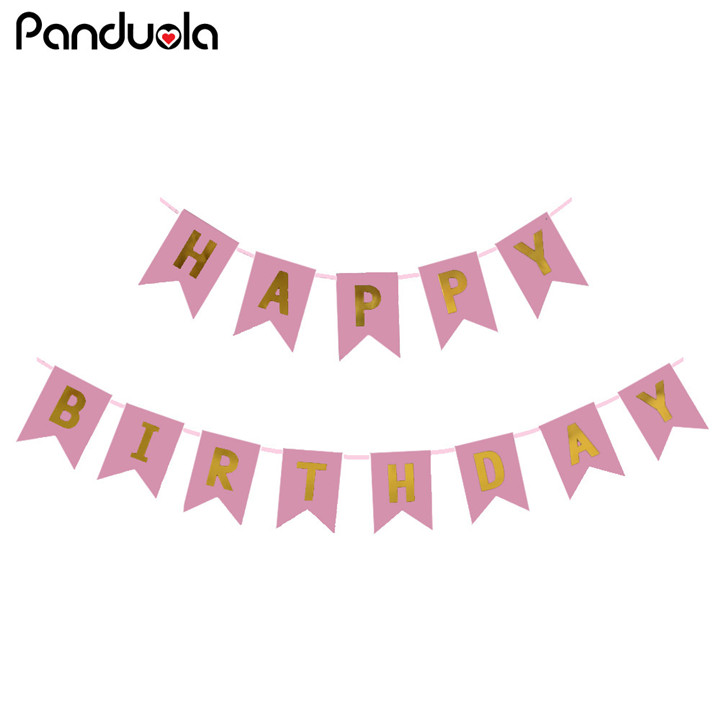 Top Happy Birthday Banners Gold Letters Hanging Garlands Pink String