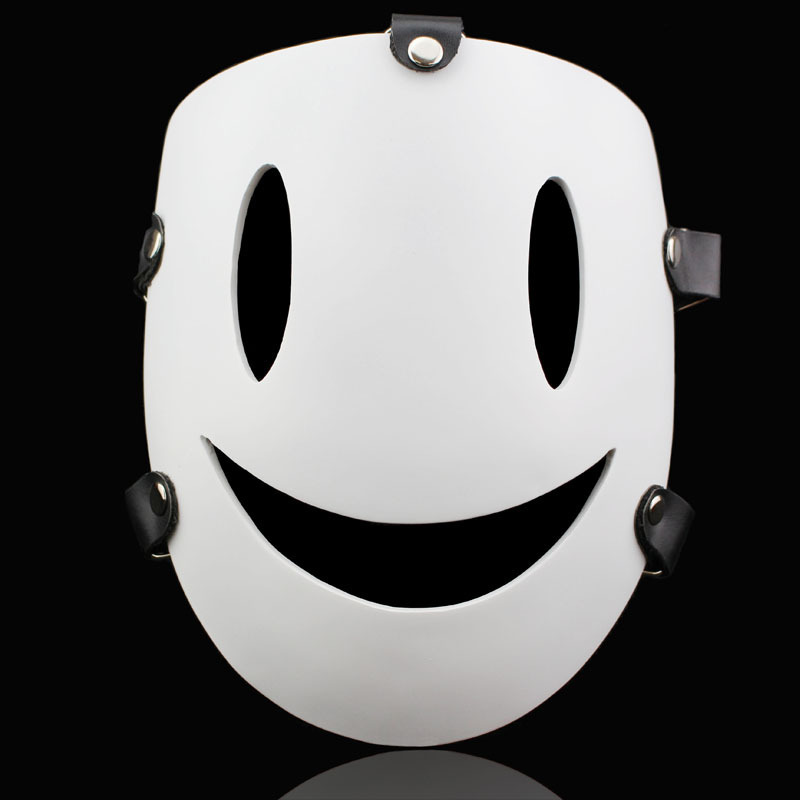 KWD Halloween Cartoon Sky Violations Smile Masks Japanese Air Murders White Resin Mask Masquerade Carnival Party Cosplay Adult