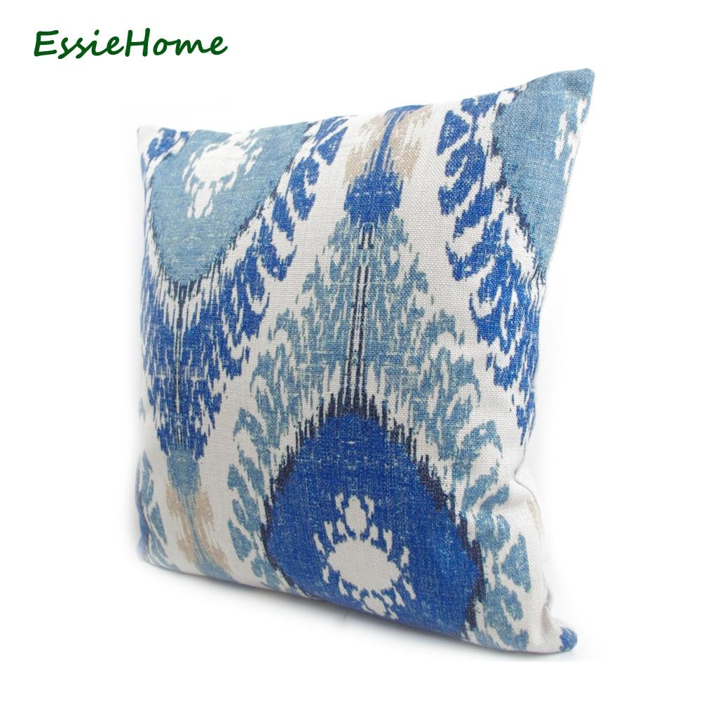ESSIE HOME Haut de gamme Impression de main Bleu clair Motif Ikat - Textiles de maison - Photo 3
