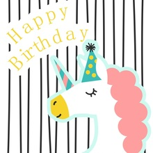Laeacco Happy Birthday Unicorn Party Stripe Scene Baby Photography Background Customized Photographic Backdrops For Photo Studio