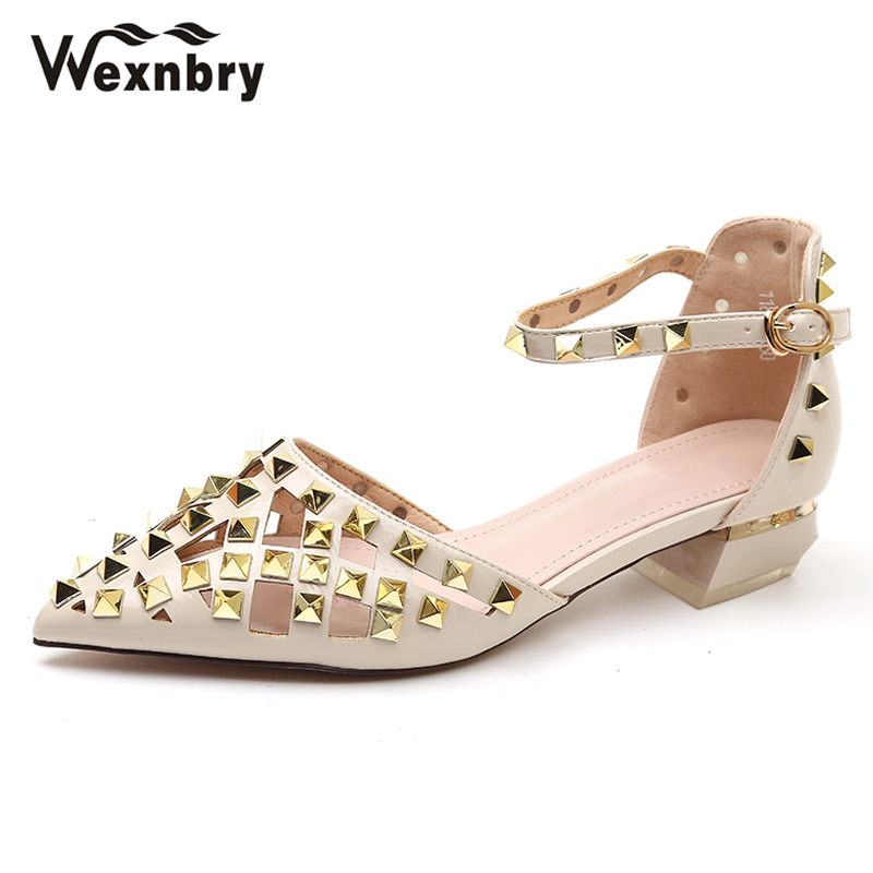 Wexnbry Women low heel Shoes 2018 New Leather Casual Shoes for Woman Soft  Pregnant women heel 0a262d2c0fc3