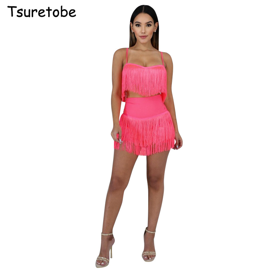 Tsuretobe Sexy <font><b>Tassel</b></font> Two Pieces <font><b>Set</b></font> Women Evening Party Club bodycon <font><b>Skirts</b></font> <font><b>Set</b></font> Ladies Crop <font><b>Top</b></font> And <font><b>Skirt</b></font> <font><b>Set</b></font> Female image