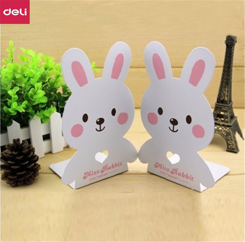 Deli 1pair 7 Inch Cartoon Rabbit Metal Bookends Iron Support Book Stand Shelf Holder Desk Accessories Organizer Korea 0D95422 deli korea creative book holder 2pcs set metal bookends decorative bookend cute animal book holder for reading support kid gifts