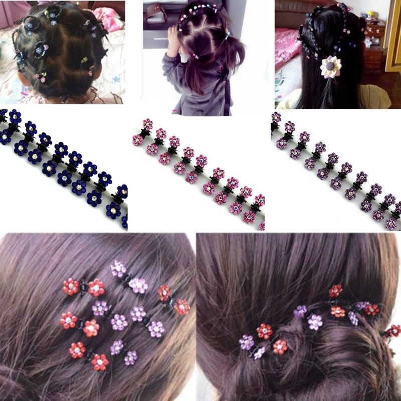 Wholesale 12pc Girls Sweet Crystal Rhinestone Flower Mini Hair Claws Clips Clamp