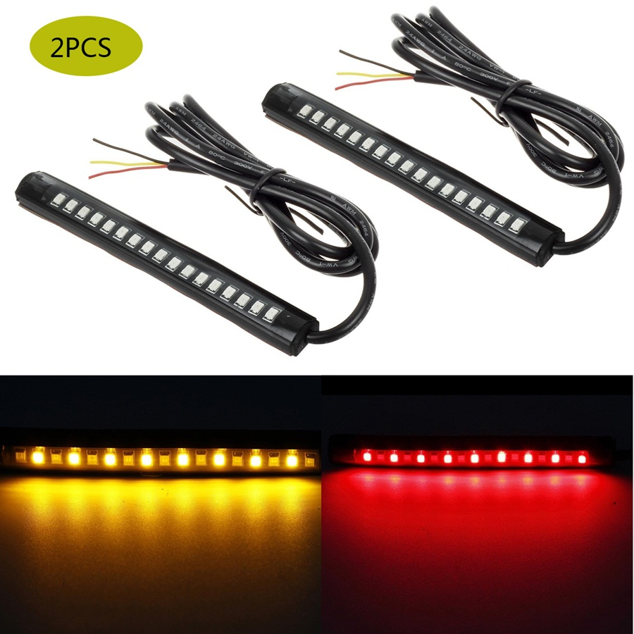 17-2835-SMD Motorcycle Turn Signals LED Light Flexible Strip Slim Bar Red/Amber 2PCS DC12V DRL Bulbs silver s edit teenage mutant ninja turtles rise of the turtles level 1 cd