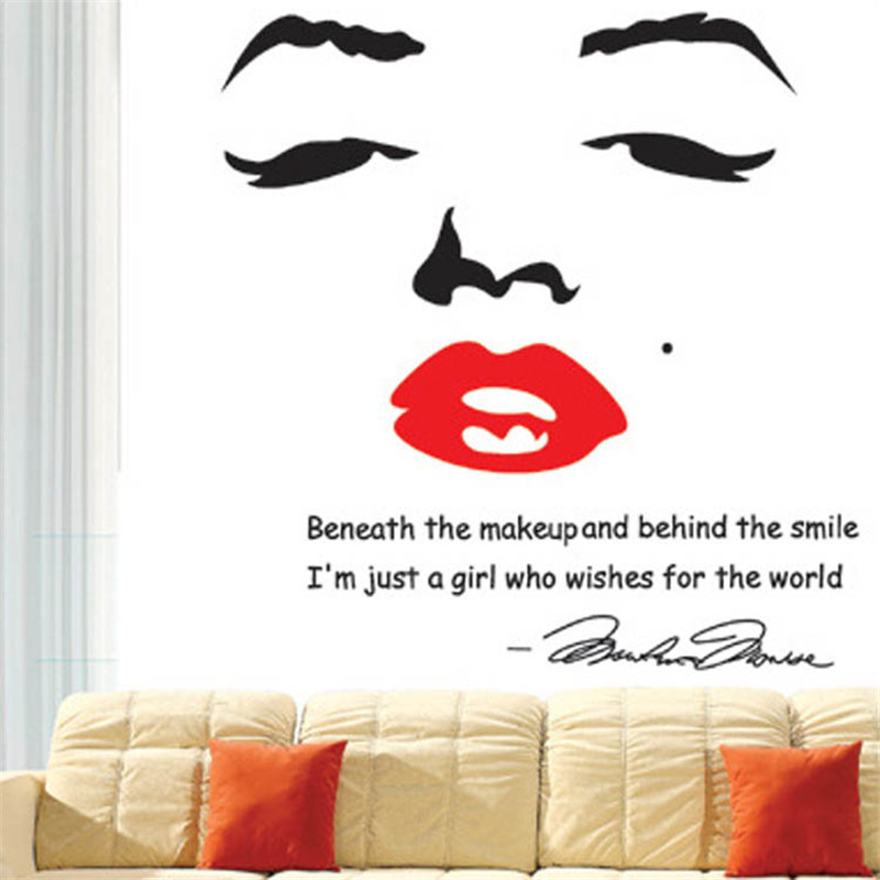 Aliexpress.com : Buy Marilyn Monroe Wall Decal Removable Art Home Decor  Quote Face Red Lips Wall Sticker Large Nice Sticker Shipping Free From  Reliable Wall ...