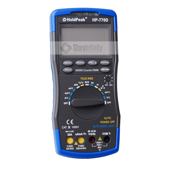 HoldPeak HP-770D Multimetro Digital Multimeter Auto Range True RMS Frequency/ Temperature Tester and Carry Bag holdpeak hp 90epc multimetro digitais usb multimeter digital auto range multimeter capacitance meter data usb with carry bag