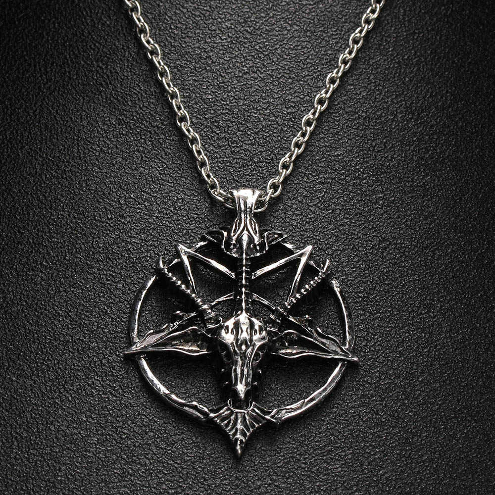 1Pc Fashion Pentagram Pan God Skull Goat Head Pendant Necklace Luck Satanism Occult Metal Vintage Silver Star Necklace For Man