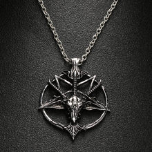 1Pc Fashion Pentagram Pan God Skull Goat Head Pendant Necklace Luck Satanism Occult Metal Vintage Silver Star Necklace For Man(China)