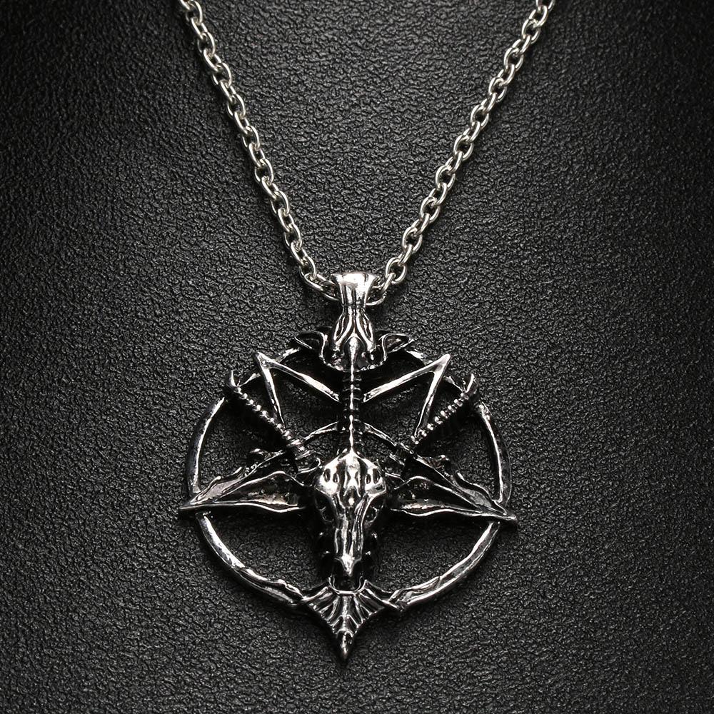 Baphomet Pentagram Devil Satan Goat Head Occult Neclace Silvered Chain Pendant Strengthening Sinews And Bones Jewellery & Watches