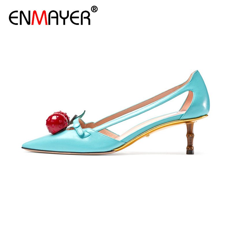 ФОТО ENMAYER Slip-On Sexy Open Cover Heels Crystal Thin High Heels Blue Black Genuine Leather Women Shoes Summer Women Sandals Party
