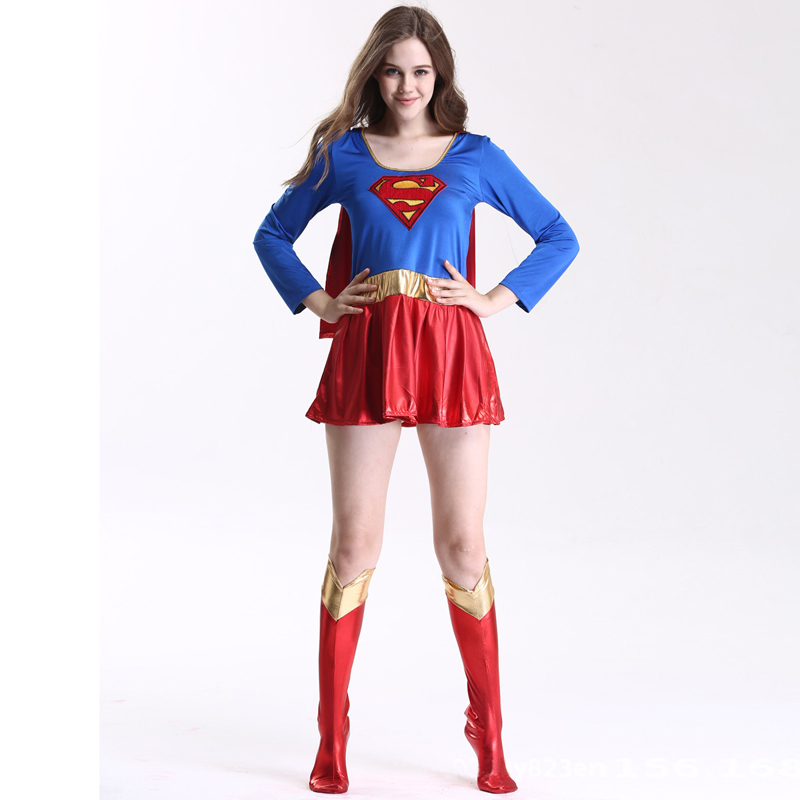 Super Girl cospaly Dress Outfit Woman Supergirl Carnival Party Sexy Costume for Adult Lady
