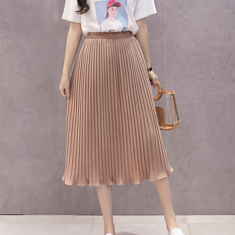 377c8936c59 Detail Feedback Questions about 2018 New Women Skirts New Fashion Women s  High Waist Pleated Solid Color Knee Length Elastic Skirt All match chiffon  ...