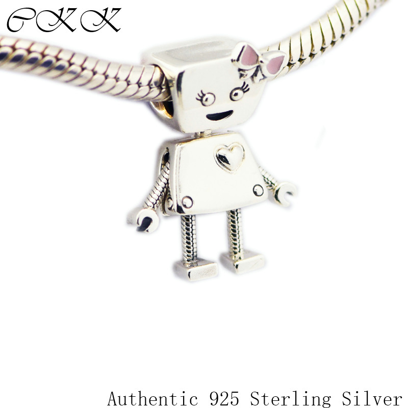 100% 925 Sterling Silver Bella Bot Beads with Pink Enamel Charm Beads for Jewelry Making Fit Bracelets Diy Fine Jewelry PF712