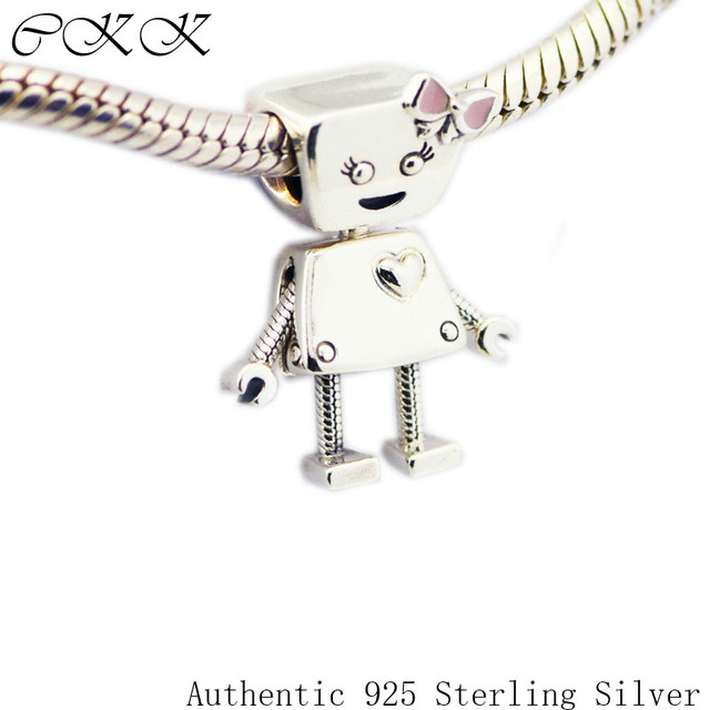 Beads for Jewelry Making Bella Bot Charm Original 100% 925 Sterling Silver & Pin