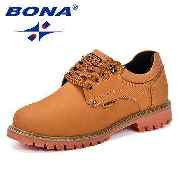 BONA 2018 Fashion Men Casual Shoes New Autumnmen Flats Cow Split Male Oxfords Men Leather Shoes Zapatillas Hombre Free Shipping 1