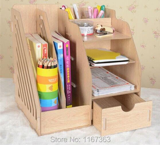 2015 Newest DIY Makeup Cosmetic Organizer Space Save Wood Craft Bookshelf Storage Holder Home Decoration