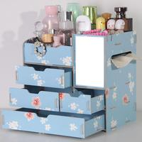 Desktop Wooden Cosmetic Storage Box Cover Super Large Dressing Table Mask Skin Care Product With Mirror