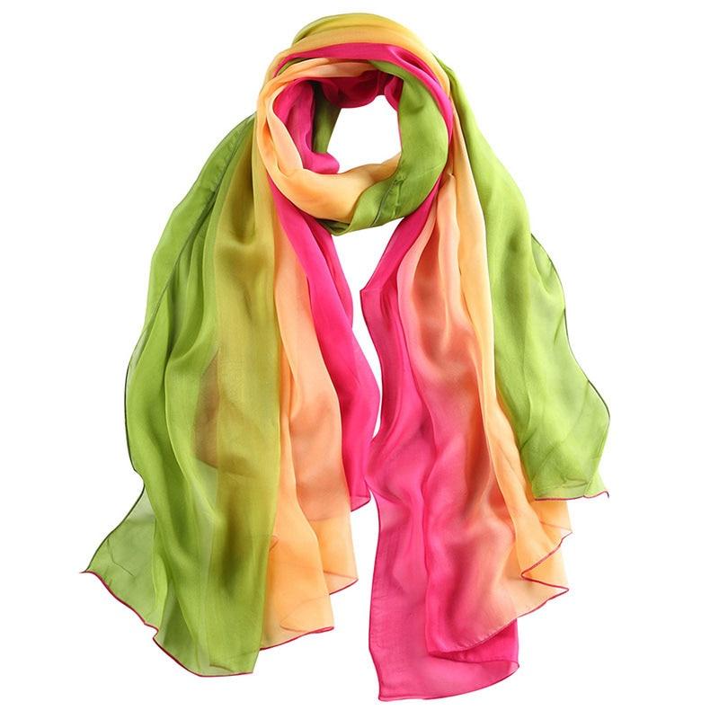 nuevas mujeres de la moda bufandas de seda gradiente de arco iris de colores largos