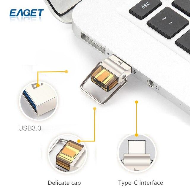 EAGET CU10 New Type-C USB3.0 Flash Drive Micro USB OTG Pendrive 16gb 16gb Smart Phone Pen Drive Memory Portable U Disk
