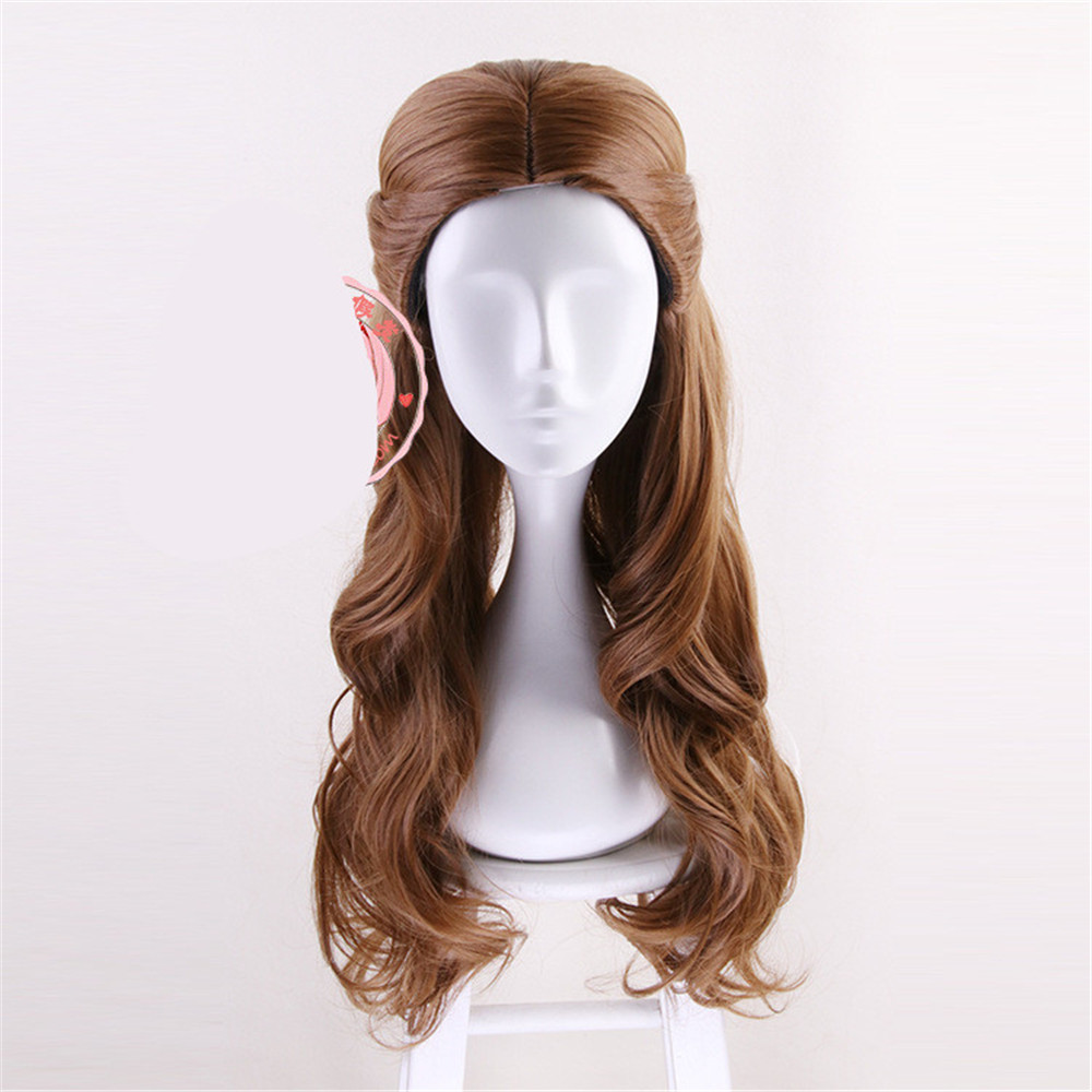 Movie Beauty and the Beast Princess Belle Brown Wig Emma Waston Cosplay purim Wig Gril Role Play Costume Wig hair