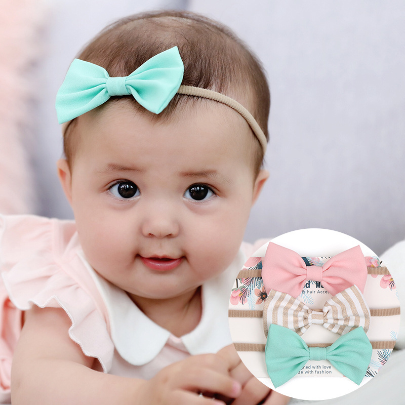 Baby Girls Headband 3 Colors Bow Knot Head Bandage Kids Toddlers Head Wrap Hair Band Infant Clothes Accessories Lake Green new women turban twist headband head wrap twisted knotted knot soft hair band bohemian pattern style